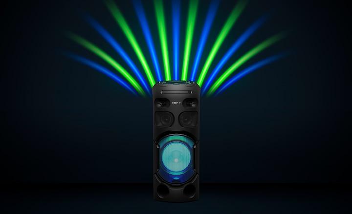 Luces de fiesta verdes y azules del parlante